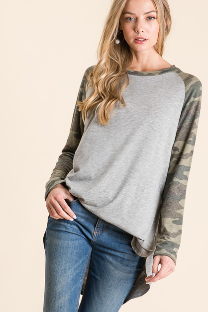 LONG SLEEVE CAMOUFLAGE RAGLAN TUNIC  - orangeshine.com