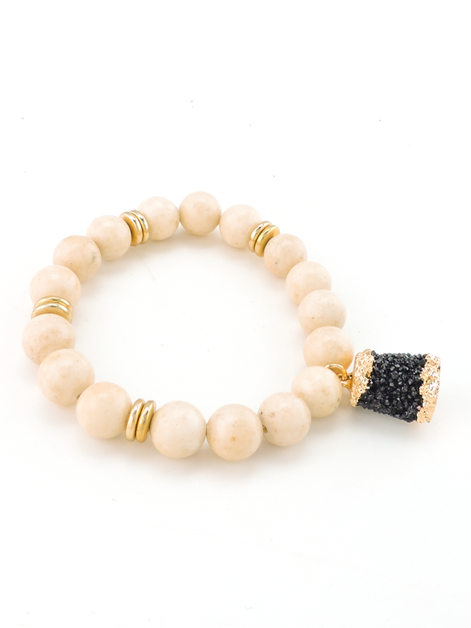 Druzy Barrel Beaded Bracelet - orangeshine.com