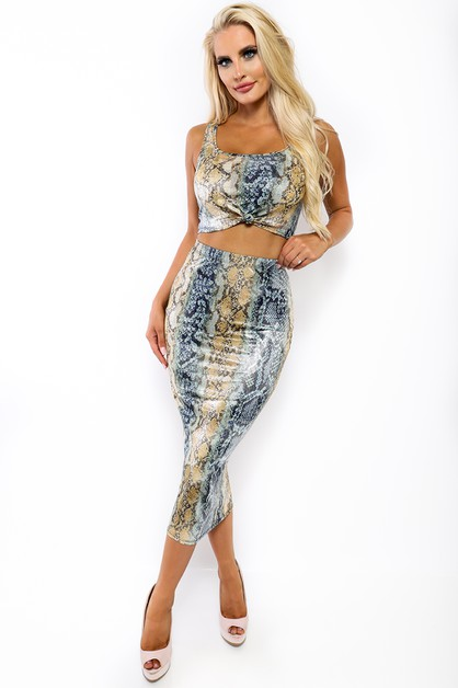 2 PC SNAKE SKIN  SKIRT SET - orangeshine.com
