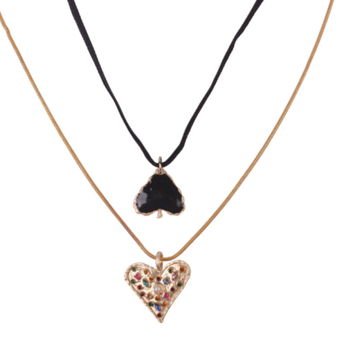 Spade and Heart Necklace Set - orangeshine.com