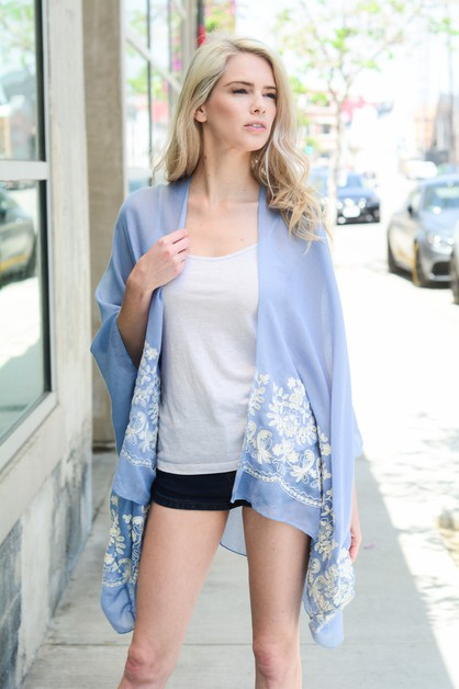 Floral Embroidered Stitch Kimono - orangeshine.com