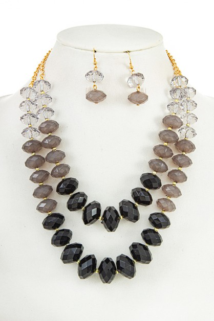 FACETED BEAD DOUBLE ROW NECKLACE SET - orangeshine.com