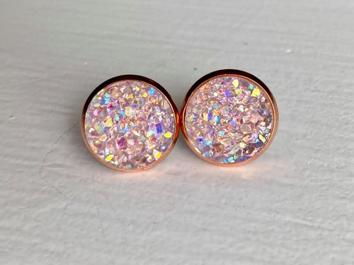 Pink Druzy in Rose Gold Setting - orangeshine.com