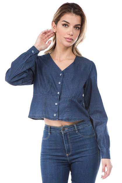 casual denim crop top - orangeshine.com