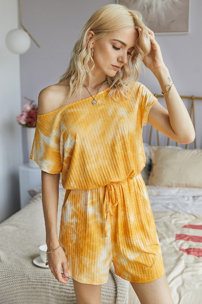 One Shoulder Loose Tie Dye Romper - orangeshine.com