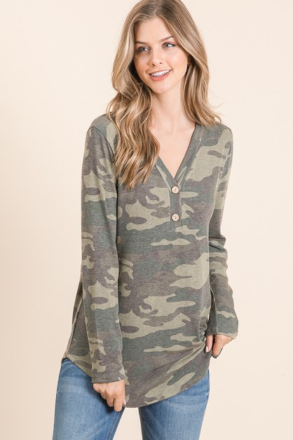 LONG SLEEVE CAMO PRINT TOP - orangeshine.com