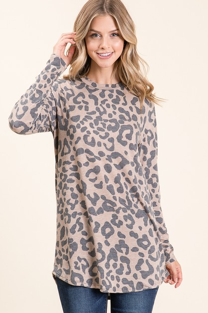 RELAXED FIT ANIMAL PRINT TUNIC - orangeshine.com