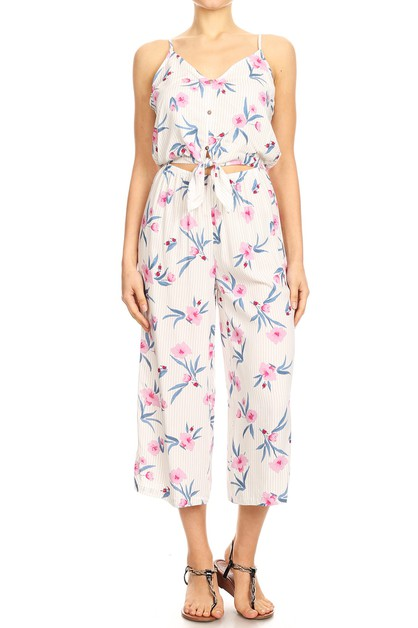 White Floral Boho Sets Jumpsuits - orangeshine.com