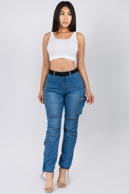 HIGH WAIST DENIM JOGGERS WITH POCKET - orangeshine.com