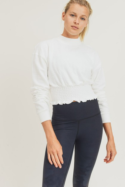 Cropped Pullover with Shirring - orangeshine.com