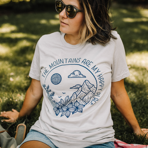 MOUNTAINS ARE MY HAPPY PLACE Tee - orangeshine.com