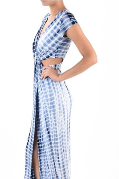Shibori tie dye maxi wrap dress  - orangeshine.com