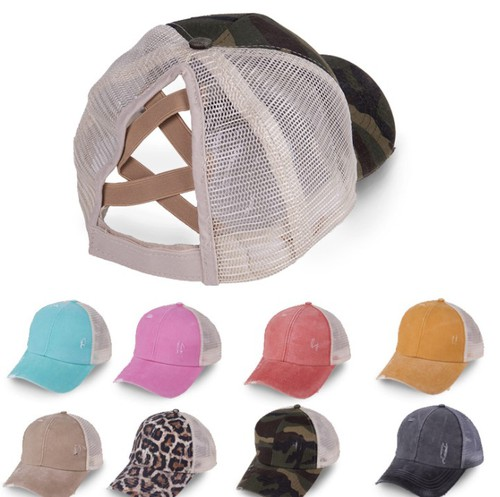 Womens Criss cross ponytail cap - orangeshine.com