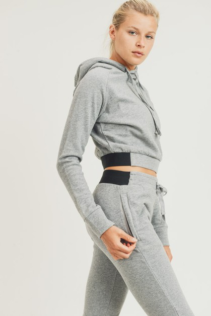 Essential Terry Cotton Cropped Hoodie Pu - orangeshine.com