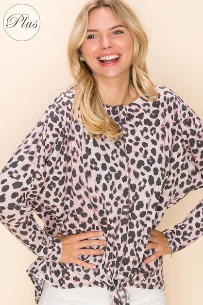 Relaxed Fit Tie Animal Print Top  - orangeshine.com