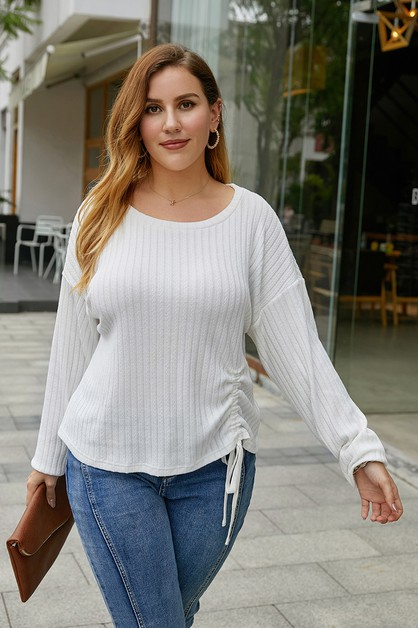 round neck long sleeve top - orangeshine.com