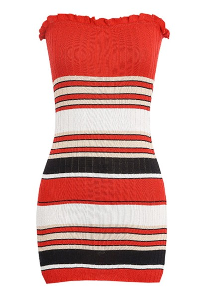 contrast slim knit dress - orangeshine.com
