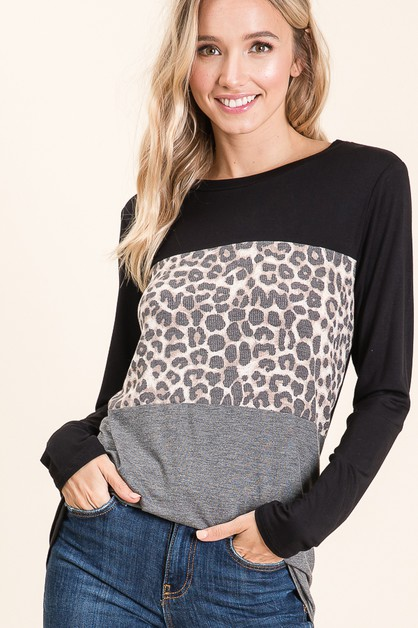 ANIMAL PRINT COLOR BLOCK TOP - orangeshine.com