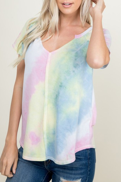 TIE DYE DEEP V-NECK SHORT SLEEVE TOP - orangeshine.com