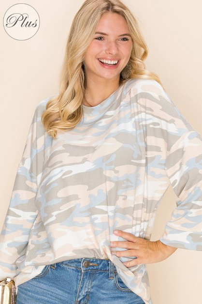 Relaxed Loose Fit  Pull Over Camo Print - orangeshine.com