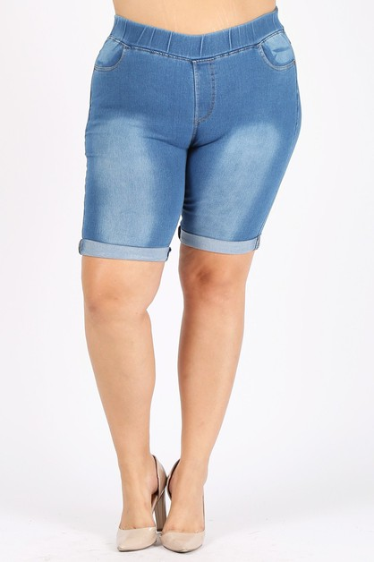 Plus Hi-Waist Distressed Denim Short - orangeshine.com