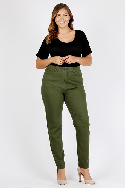 Plus Size High Waist Solid Pants - orangeshine.com