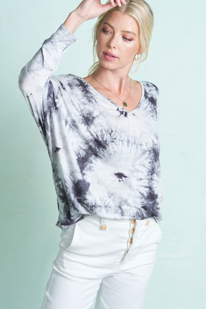 Tie Dye  V-neck Long Sleeve Top  - orangeshine.com
