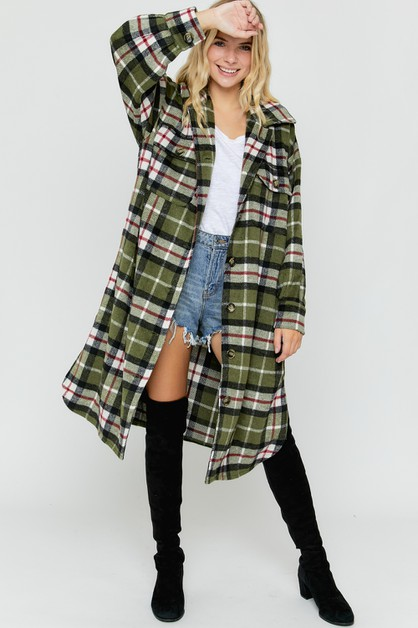 PLAID LONG SLV JACKET WITH POCKETS - orangeshine.com