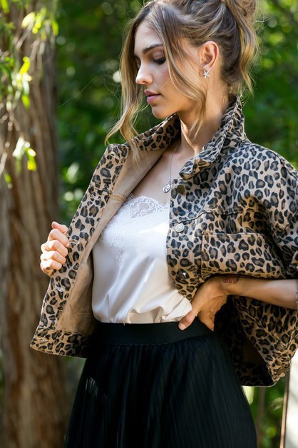 Leopard Print Long Sleeve Jacket - orangeshine.com