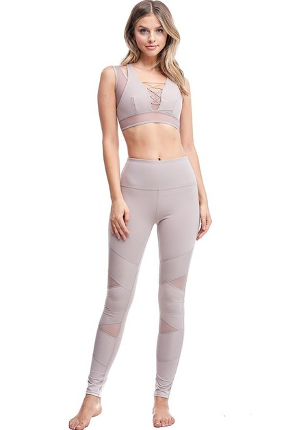Mesh Inserted Active Legging - orangeshine.com