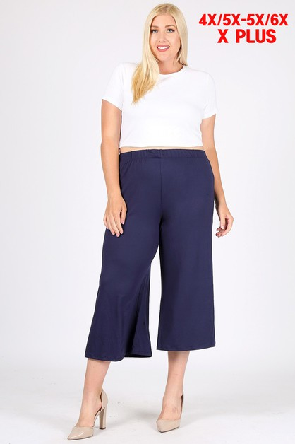4X - 6X Plus Capri Wide Leg Pants - orangeshine.com