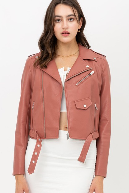 Faux Leather Zip Up Biker Jacket - orangeshine.com