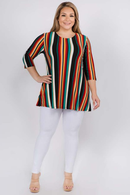 Colorful Striped Tunic Top - orangeshine.com