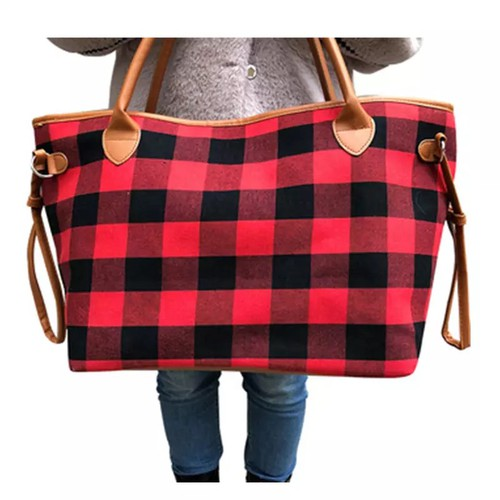 Red Plaid Canvas tote Weekender bag - orangeshine.com