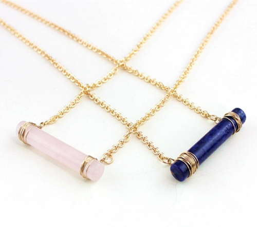 Quartz Cylinder Necklace - orangeshine.com
