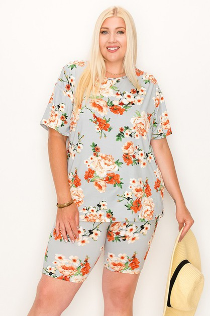 PLUS SIZE FLOWER PRINT 2 PIECE SET   - orangeshine.com