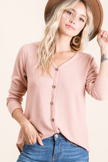 FAUX BUTTON WAFFLE KNIT TOP - orangeshine.com