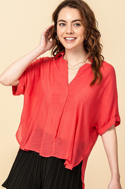 HIGH LOW BLOUSE WITH BACK BUTTON - orangeshine.com