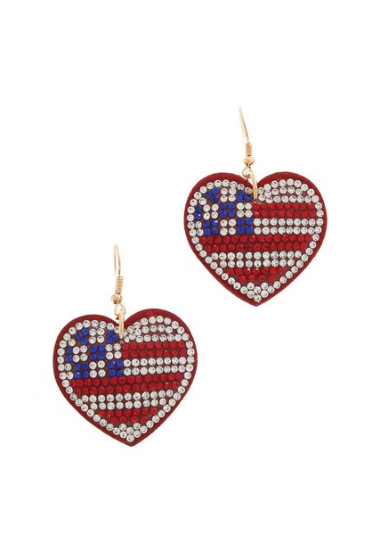 RHINESTONE PUFFY FLAG HEART DROP EAR - orangeshine.com