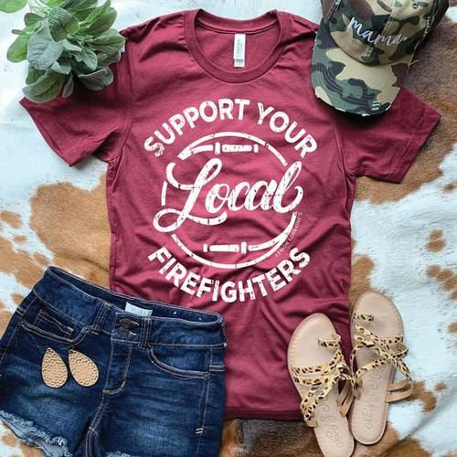SUPPORT FIREFIGHTERS Graphic Tee - orangeshine.com