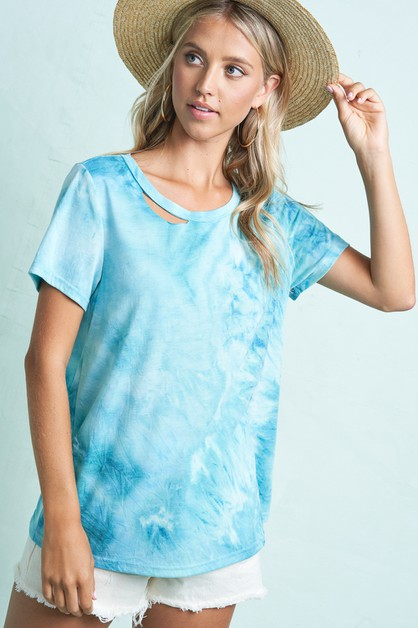 Relaxed Fit Short Sleeve Tie dye Top - orangeshine.com