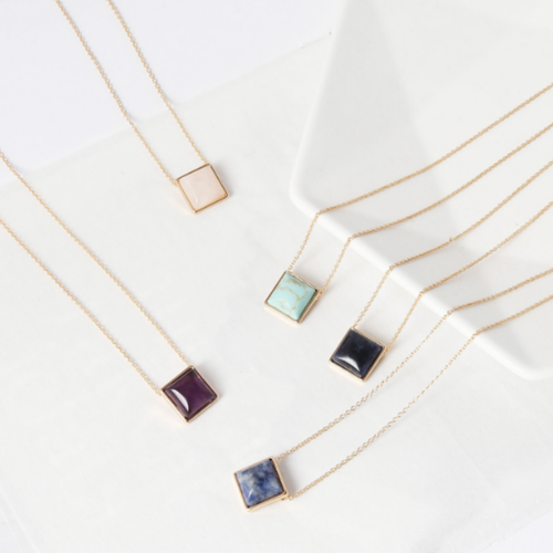 Quartz Square Necklace - orangeshine.com
