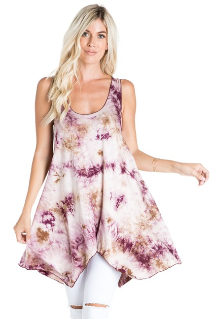 Tie Dye Sleeveless Swing Tunic - orangeshine.com