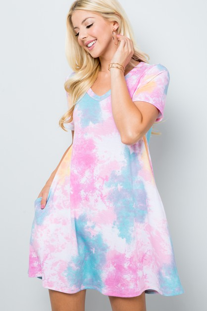 TIE DYE SHORT SLEEVE MINI DRESS  - orangeshine.com
