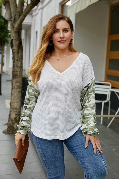 v-neck long sleeve plus size top - orangeshine.com