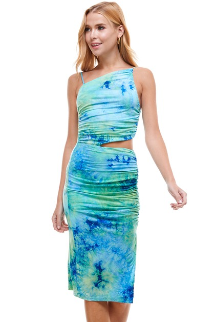 Tie Dye Sleeveless Cutout Mini Dress - orangeshine.com