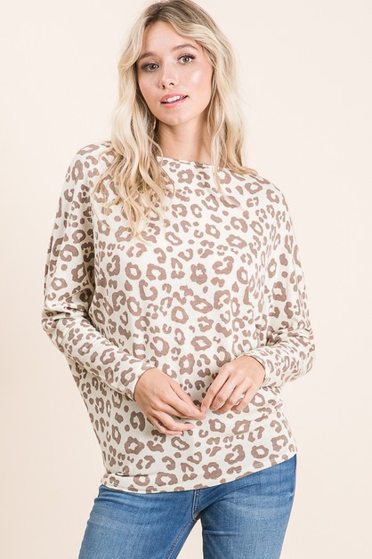 ANIMAL PRINT KNIT TOP - orangeshine.com