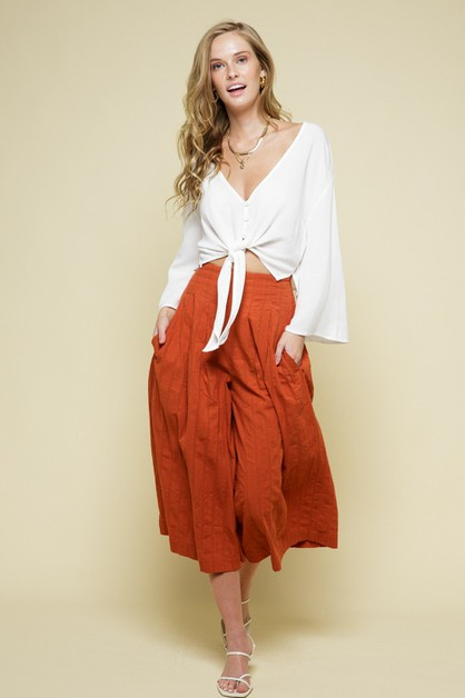 HIGH WAIST MIDI PANTS - orangeshine.com