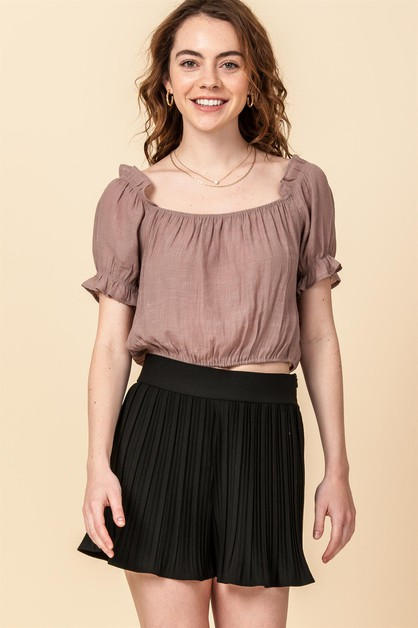 SHORT SLEEVE CROP TOP WITH RUFFLE - orangeshine.com