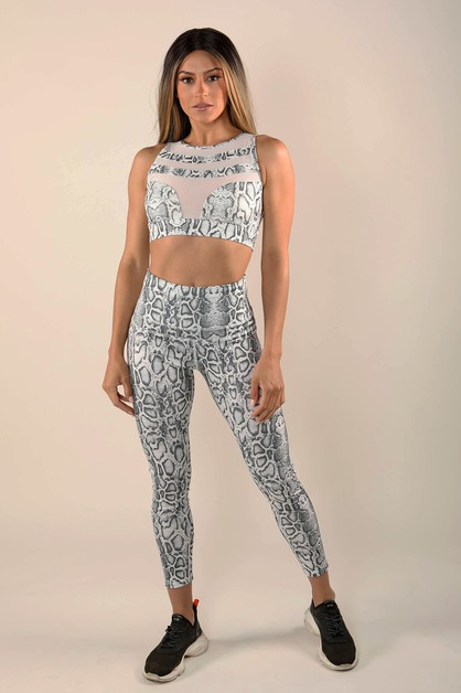Snake Skin Printed Activewear Sets - orangeshine.com
